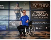 Andrew Mullen unveiling his 'Legends will Rise' image at Tollcross International Swimming Centre